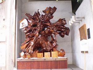 諏訪神社神木根を雪国館入り口に設置展示しました。